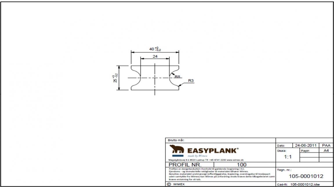 Wimex kompozītmateriāla lāga 25x40x3600 mm